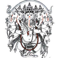 Ganpati -Panchmukha size - 11.69x16.53In - 11.69x16.53