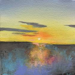 Sunset Painting size - 6x6In - 6x6