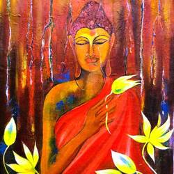 Buddha; Lotus; Flourscent size - 20.5x28.5In - 20.5x28.5