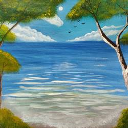 Beach painting size - 12x10In - 12x10