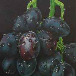 Reallistic grapes oil on canvas size - 12x16In - 12x16