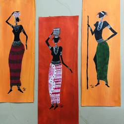 Three figurative paintings  size - 5x14In - 5x14