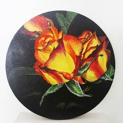 Beautiful Yellow roses in Round Shape size - 12x12In - 12x12