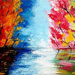 The Autumn Abstract Painting  size - 15x22In - 15x22