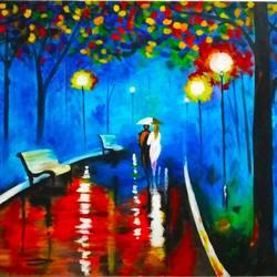 A walk in rain size - 52x31In - 52x31