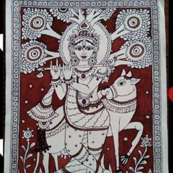 Kalamkari Krishna painting size - 12x16In - 12x16