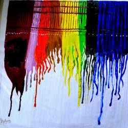 ABSTRACT DRIP PAINTING size - 42x45In - 42x45