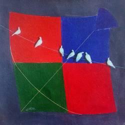 kite and birds joy size - 12x12In - 12x12