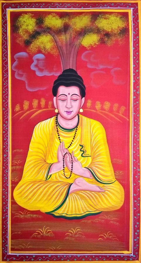 lord buddha, 15 x 27 inch, vishal gurjar,15x27inch,cloth,paintings,buddha paintings,religious paintings,miniature painting.,paintings for living room,paintings for office,paintings for hotel,oil color,GAL0778127151,lord buddha size - 15x27in,ADR9778127151