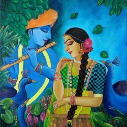 LOVE OF RADHA-KRISHNA size - 17.8x24In - 17.8x24