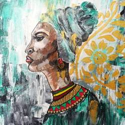 African Lady Knife Painting size - 16x12In - 16x12