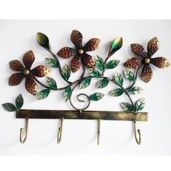 Attractive Iron Brown Flower with Leaf Key Holder size - 18x12In - 18x12