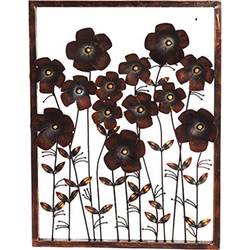 Iron Metal Brown Flowers Framed Wall Decor Showpiece size - 26x36In - 26x36