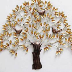 Golden Brown Metal Tree of Wisdom and Life Wall Hanging with Birds Sitting on Branches  size - 30.5x27In - 30.5x27