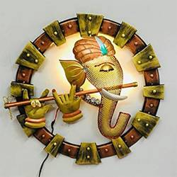 Lord Krishna with Flute Round Metal Wall Hanging size - 19x19In - 19x19