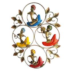 Colourful Indian Sardarji with Different Instruments Decorative Wall Hanging size - 24x20In - 24x20