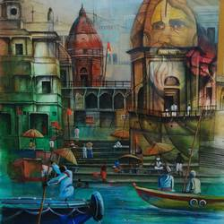 Temple Ghat  size - 24x30In - 24x30