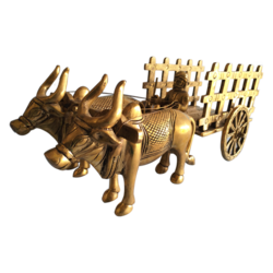 Pure Brass Statue Bullock Cart with Open Jaali Showpiece size - 6x14In - 6x14
