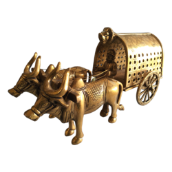 Brass Statue Narasimha Symbolized Bullock Cart Showpiece size - 13x6In - 13x6