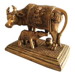 Golden Antique Cow and Calf Religious Brass Statue size - 6x5In - 6x5