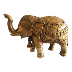 Decorative Brass Elephant Trunk Up Statue With Bell size - 8x5.5In - 8x5.5
