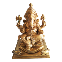 Beautiful Antique Lord Ganesha Brass Statue size - 6x8.5In - 6x8.5