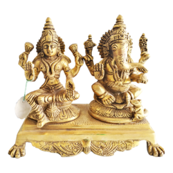 Decorative Religious God Lakshmi Ganesha Brass Statue Showpiece  size - 7x6.5In - 7x6.5