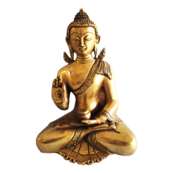 Golden Meditating Buddha Brass Statue size - 5x8.5In - 5x8.5