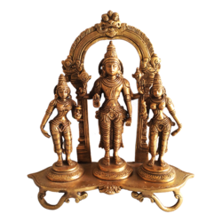 Lord Venkateswara Sridevi Bhudevi Brass Statue size - 9.5x10In - 9.5x10