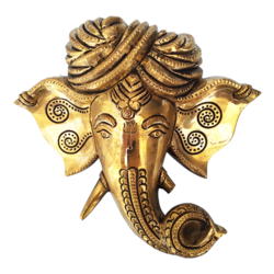 Decorative Lord Ganesha Face Wall Hanging Brass Statue size - 6.5x6.5In - 6.5x6.5