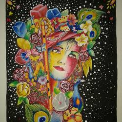 painting of goddess krishna by Pragga Majumder. size - 17x24In - 17x24