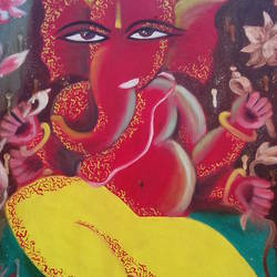 painting of god ganesha by Shiuli Majumder. size - 21x33In - 21x33