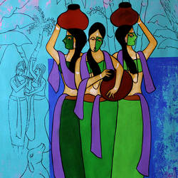 Three women  size - 24x36In - 24x36