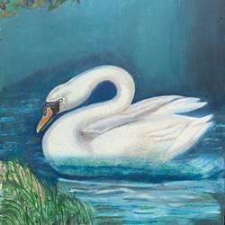 Swan in lake size - 9x16In - 9x16