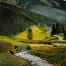 River flowing from mountains size - 23x35.5In - 23x35.5
