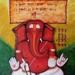 Ganesha vighnaharta size - 20x27In - 20x27