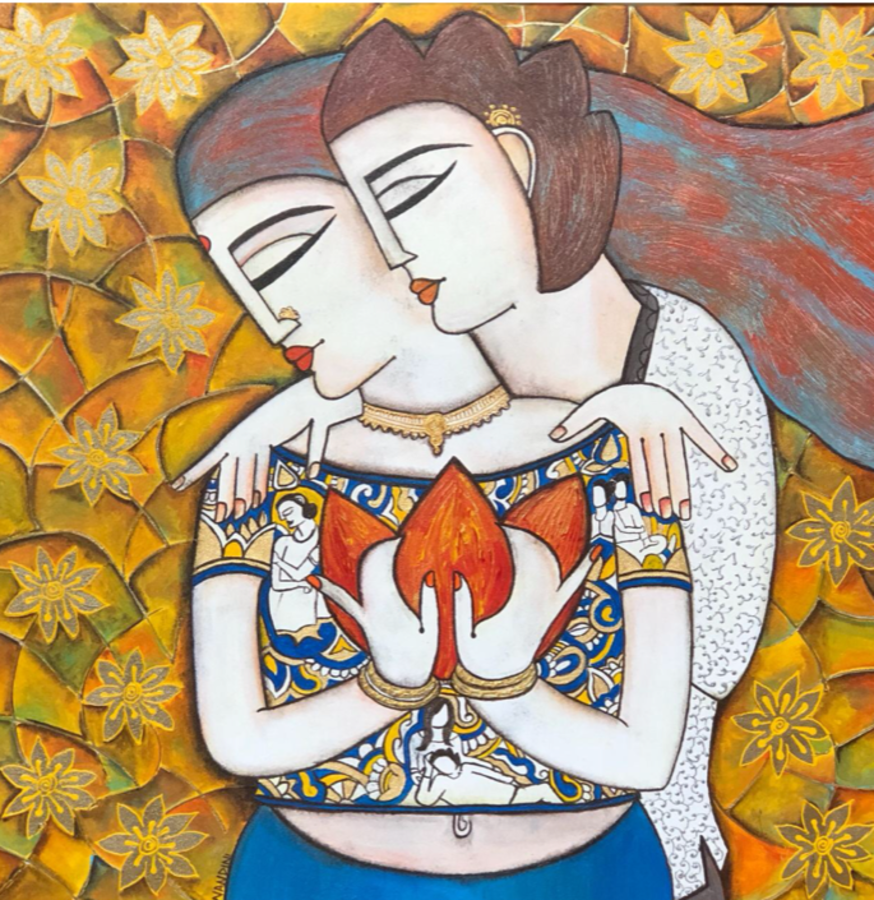 eternal love , 24 x 24 inch, nandini verma,24x24inch,canvas,paintings,figurative paintings,expressionism paintings,love paintings,paintings for dining room,paintings for living room,paintings for bedroom,paintings for hotel,acrylic color,GAL0273727462,eternal love  size - 24x24in,ADR9273727462