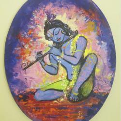 Krishna Banke Bihari size - 16x20In - 16x20