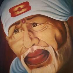 portrait of Sai baba size - 30x22In - 30x22