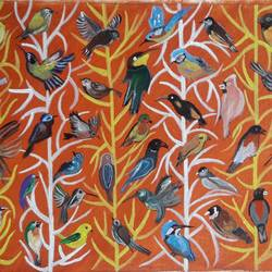 Abstract bird painting size - 24x15In - 24x15