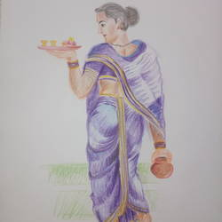 Lady going for pooja size - 10.5x14.5In - 10.5x14.5