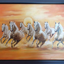 Seven Horses Running size - 29.5x19.5In - 29.5x19.5