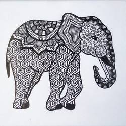 Ink Doodle Art size - 9x8.5In - 9x8.5