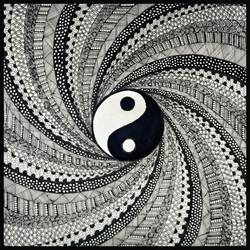 Yin Yang Doodle Art size - 12x12In - 12x12