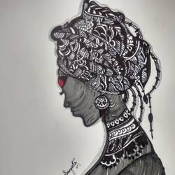 Tribal-lady-inked-in-marker-pen size - 40x30In - 40x30