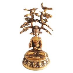 Brass Meditating Buddha Statue with Dhyan Mudra Under Bodhi Tree size - 5x7.5In - 5x7.5