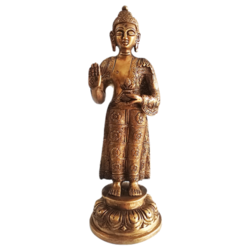 Designed Brass Standing Buddha Blessing Idol size - 8x3In - 8x3