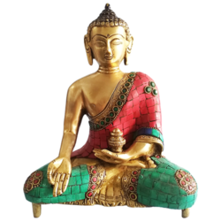 Meditating Brass Buddha Statue with stone work Showpiece  size - 6x8In - 6x8