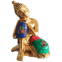 Resting Brass Buddha Statue with Multicolored Stonework Showpiece size - 3x4In - 3x4