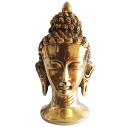 Beautiful Brass Lord Gautama Buddha Face Statue size - 3.5x5.5In - 3.5x5.5